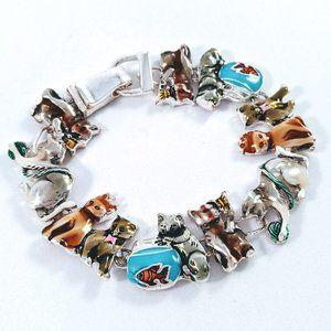 Cat Themed Enameled Silver Tone Bracelet